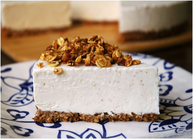 Almond Butter-Greek Yogurt Cheesecake with Coconut Granola Crust