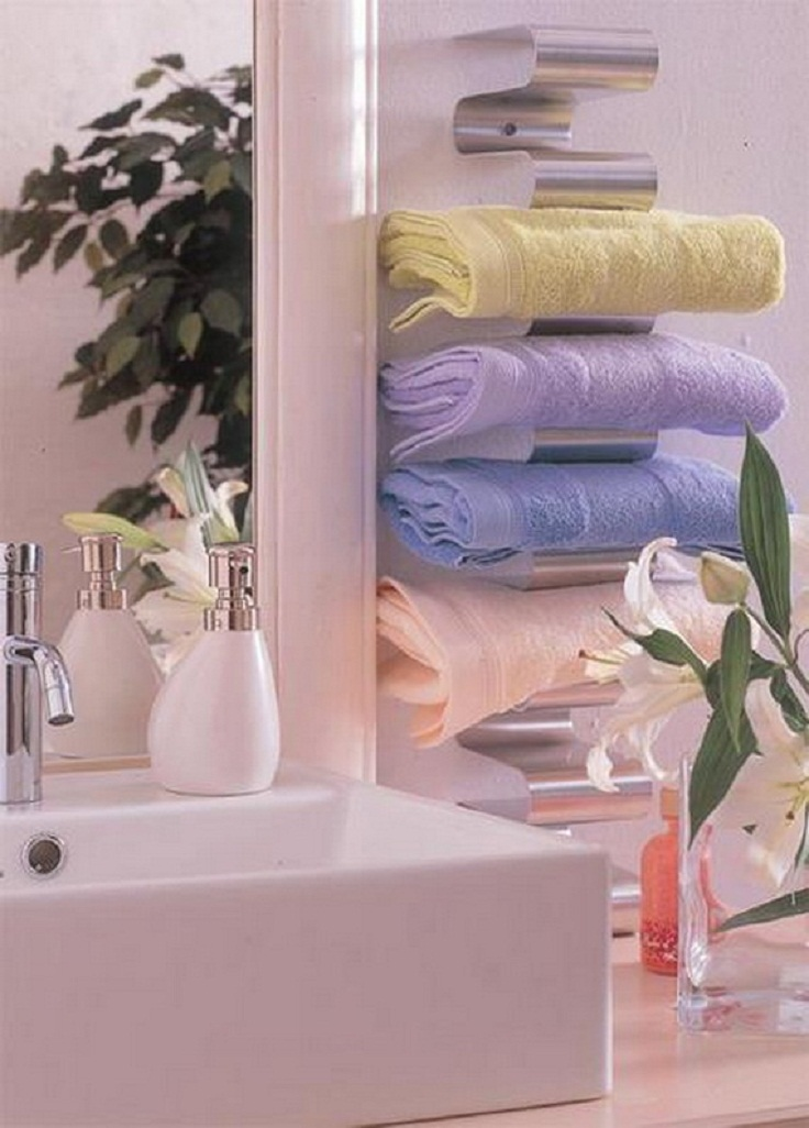 creative storage idea for a small bathroom organization 12