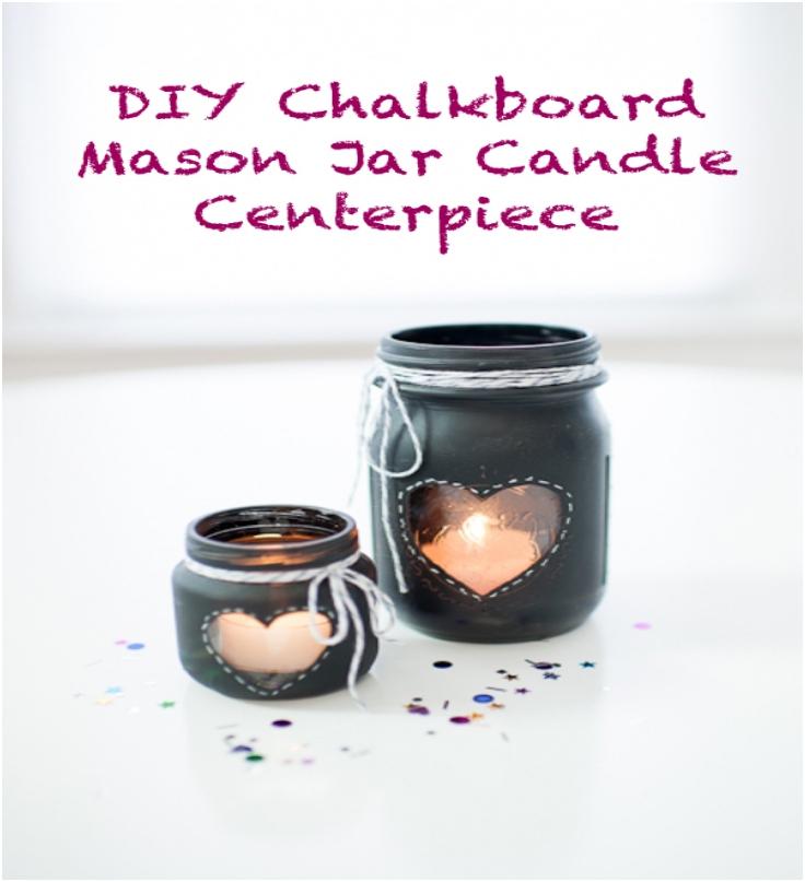 DIY CHALKBOARD MASON JAR CANDLE CENTERPIECE1
