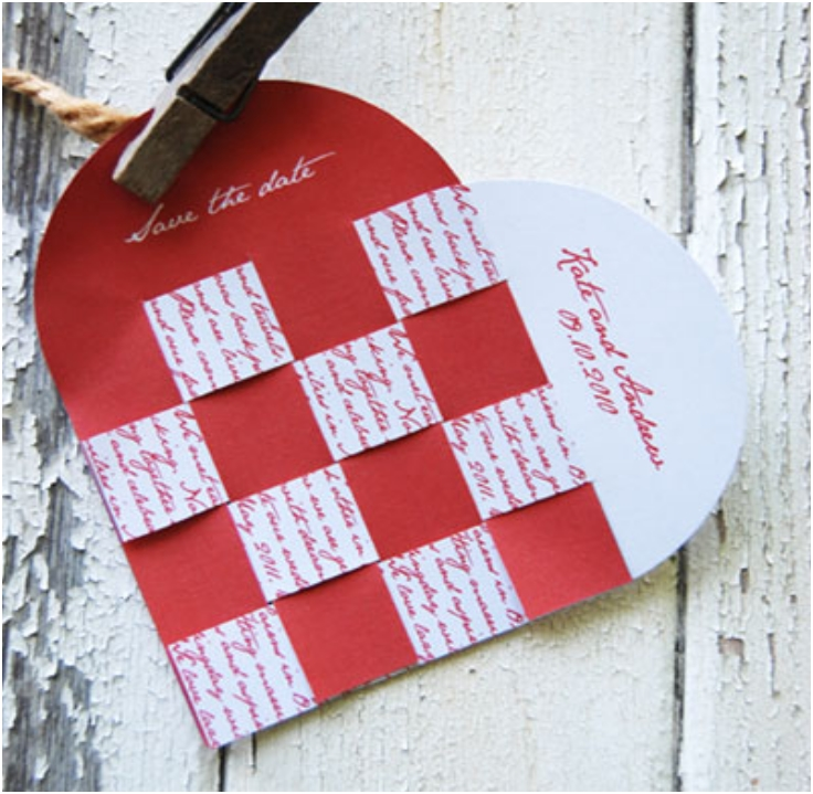 DIY Wedding Heart Save The Date Card