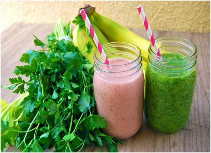 Green Mango & Pink 'N' Green Breakfast Smoothies from The Conscious Cleanse