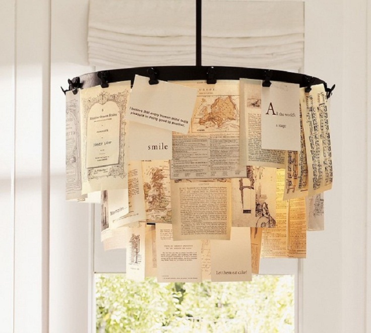 7 diy chandeliers using vintage things for Chandelier craft ideas