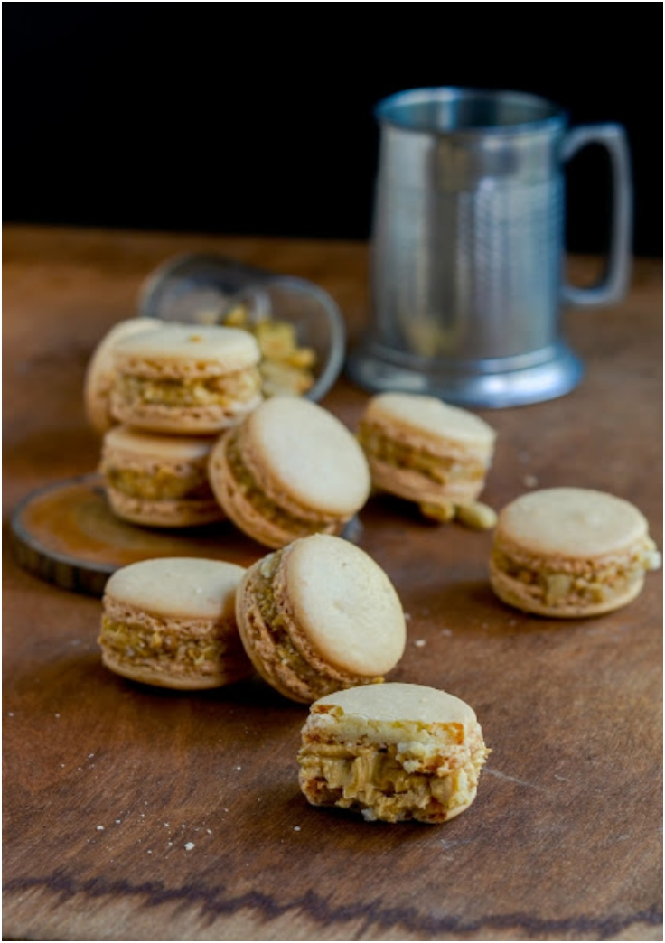 BEER NUT MACARONS WITH LIGHT ALE BUTTER CREAM