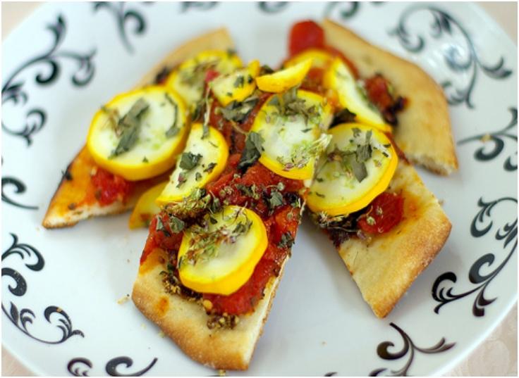 Brushetta and yellow zucchini flatbread pizza