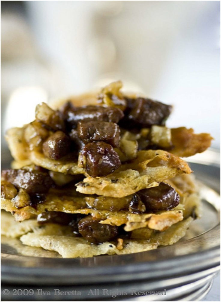 CALFS LIVER WITH CHESTNUTS AND CAPERS BRAISED IN BALSAMIC VINEGAR SERVED WITH PARMESAN AND OREGANO BISCUITS