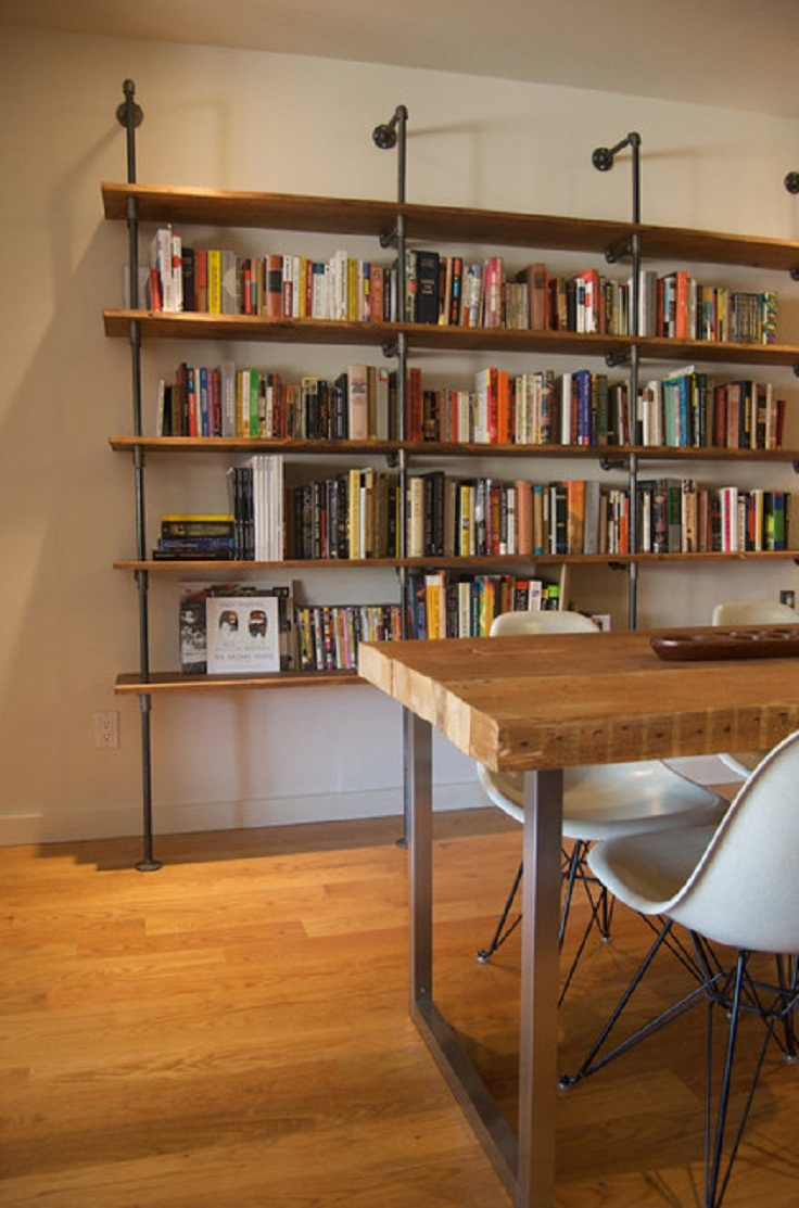 7 diy bookshelves creative ideas and designs for Diy industrial bookshelf