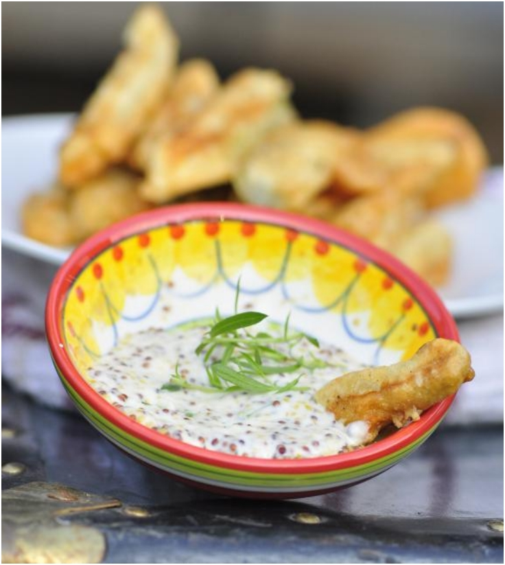 Deep Fried Pickles with Old-Style Mustard and Oregano Dip