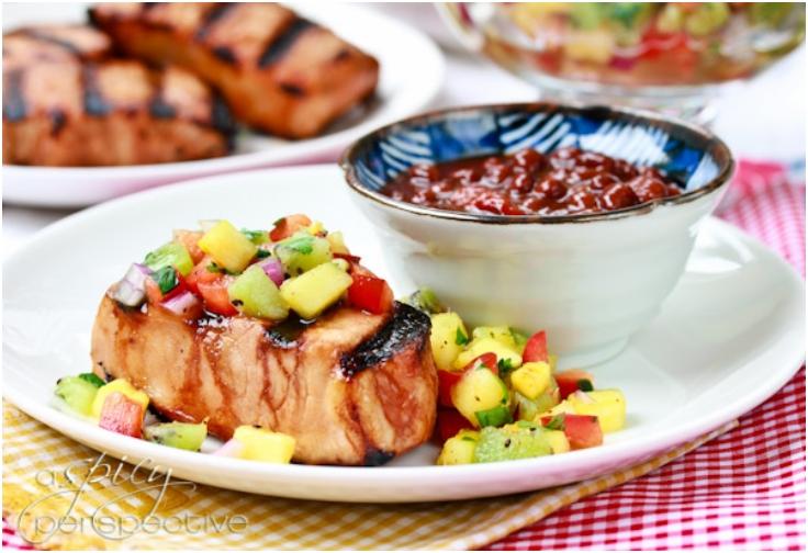 Firecracker Pork Chops with Pineapple Kiwi Salsa