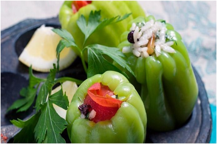GREEN PEPPERS STUFFED WITH RICE AND PINE NUTS