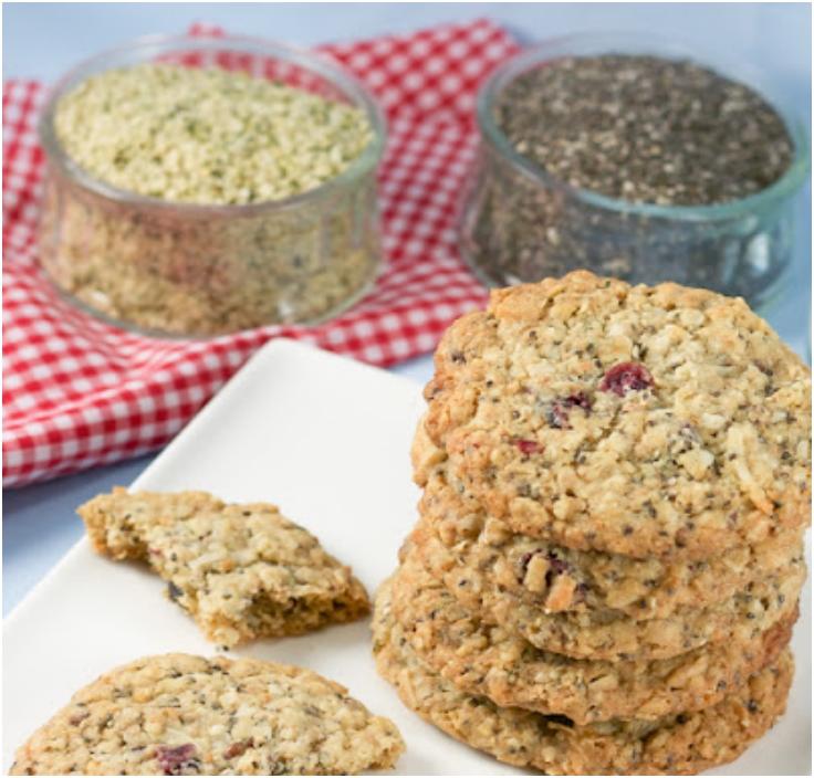 Gluten Free Hemp & Chia Seed Oatmeal Cookies