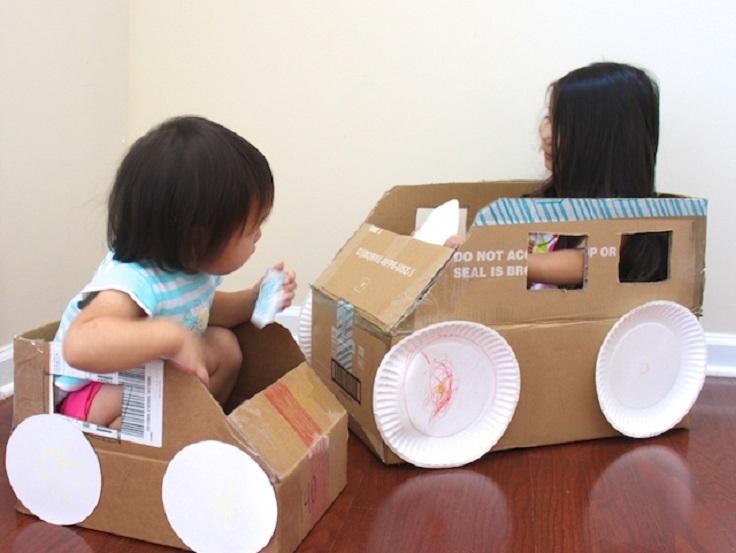 7 diy cardboard ideas for kids for Car craft for kids