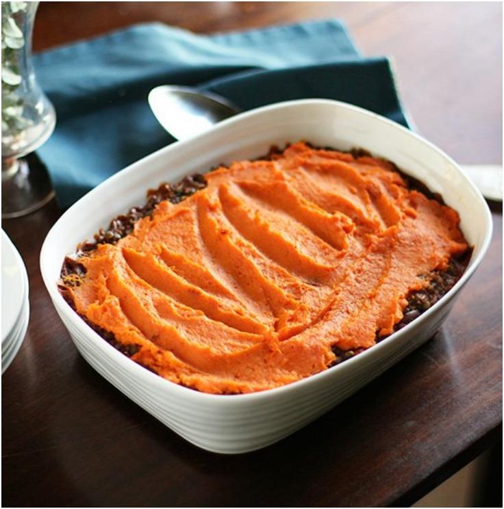 Lentil, Mushroom  Sweet Potato Shepherd Pie