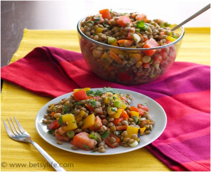 Lentil Salad with Grilled Peppers