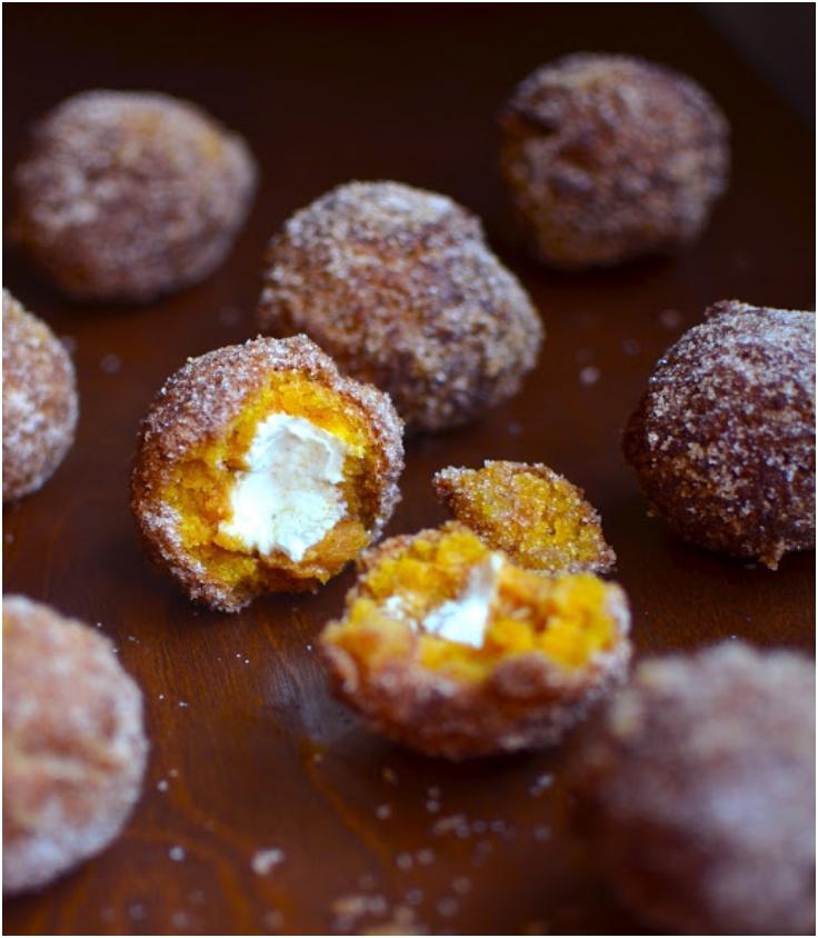 Pumkin Doughnut Holes Stuffed with Cream Cheese