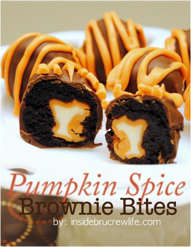 Pumpkin Spice Brownie Bites