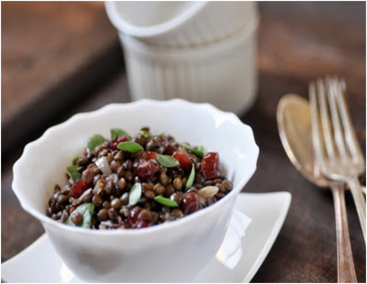Puy Lentil Salad with Cranberries and Purslane