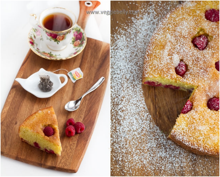 Rhubarb Raspberry Polenta or Cornmeal Cake Recipe
