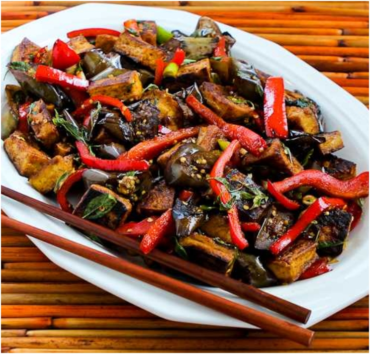 Sriracha-Spiced Stir-Fried Tofu with Eggplant, Red Bell Pepper, and ...