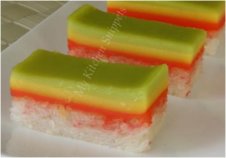 Steam Glutinous Rice Cake Rainbow Seri Muka