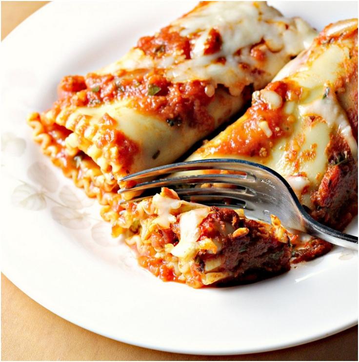 Sweet Potato Spinach Pesto Lasagna Rolls