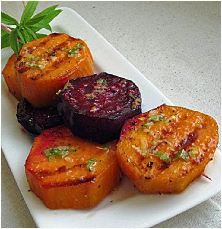 Sweet Potato and Beet Lollipops