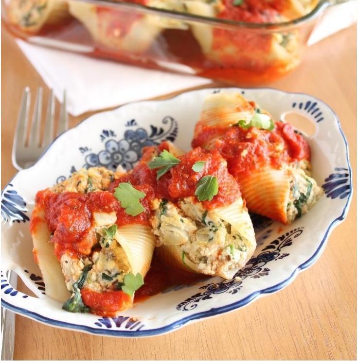 Tofu RicottaStuffed Shells with Spinach and Eggplant