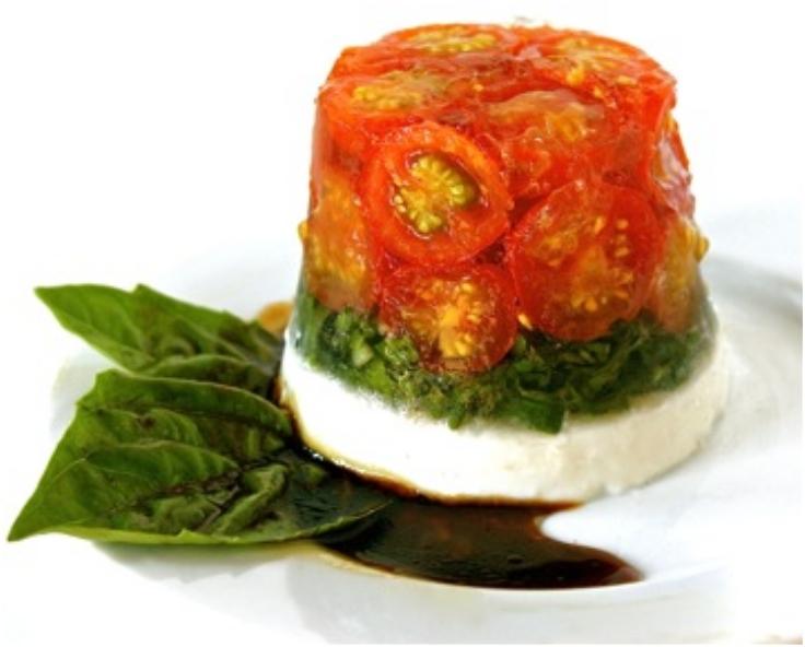 Tomato, Basil and Goat Cheese Gelatin Salad