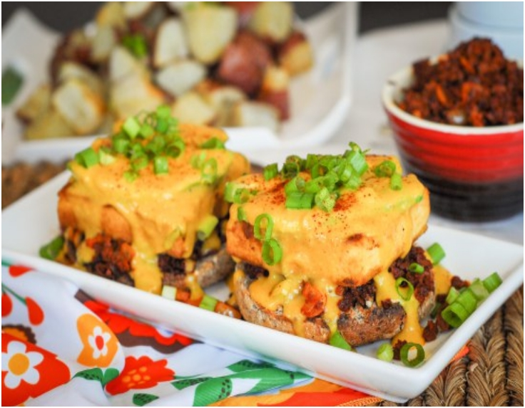 Weekend Brunch Round Chorizo Tofu Benedicts