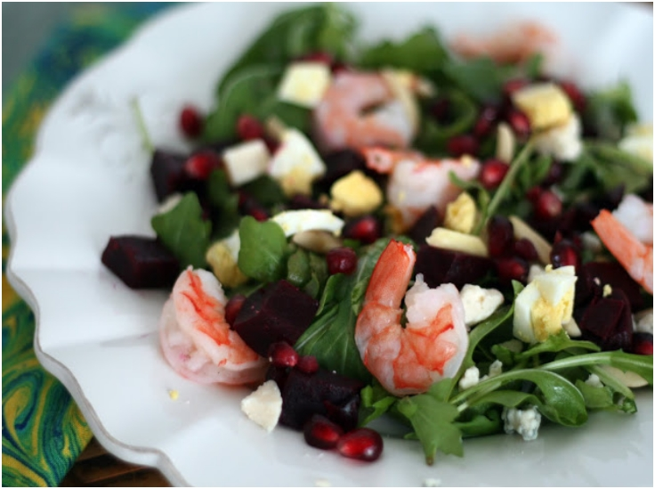 Winter Cobb Salad with Shrimp, Pomegranate and Beets