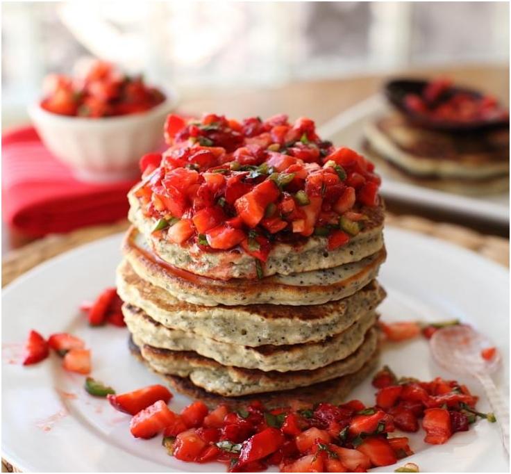 chia flapjacks with strawberry salsa