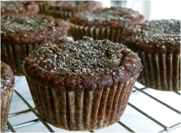 chocolate banana almond flour muffins with chia seeds
