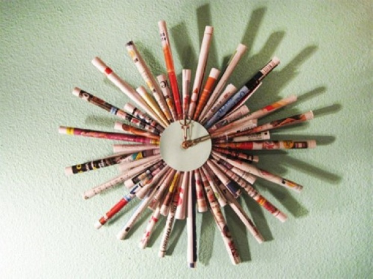 cool-diy-clock-of-rolled-magazine-sheets-1-500x375