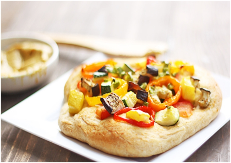 mustard and roasted veggie pizza