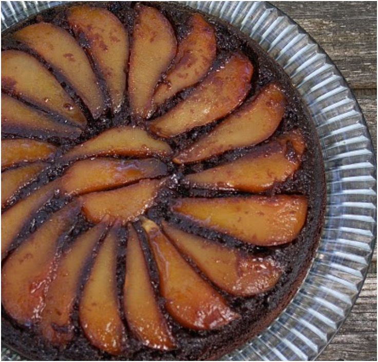 upside down pear chocolate skillet cake