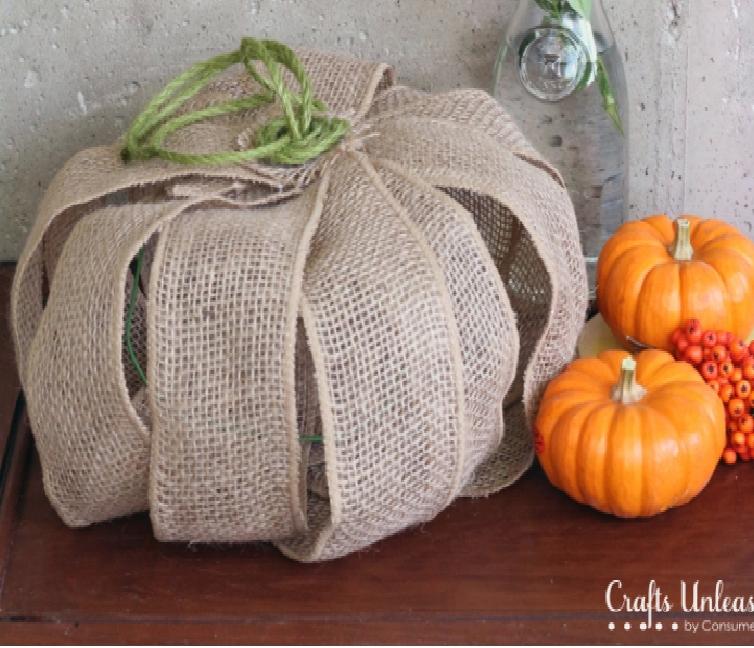 Burlap Ribbon DIY Pumpkin Decor