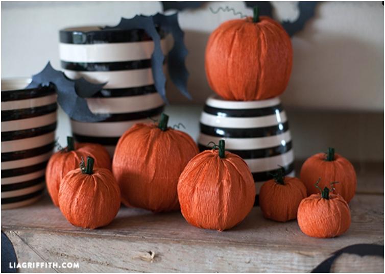 Crepe Paper Craft Fall Pumpkins