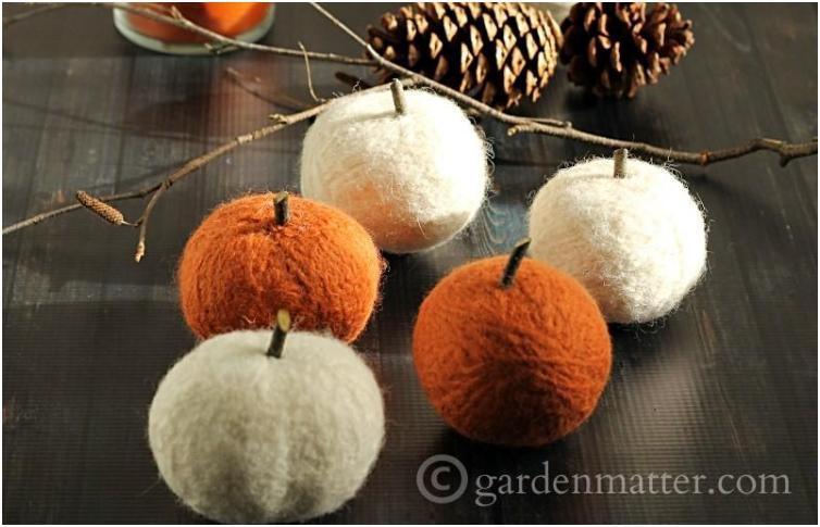 Felted Dryer Ball Pumpkins