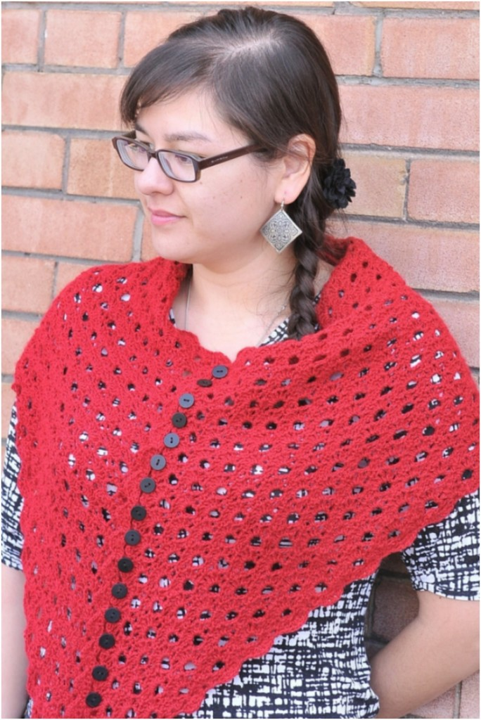 Multiplicity Buttoned Crocheted Shawl with Free Pattern