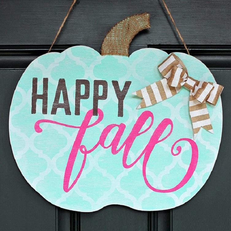 Shabby Chic Happy Fall Pumpkin Door Hanger