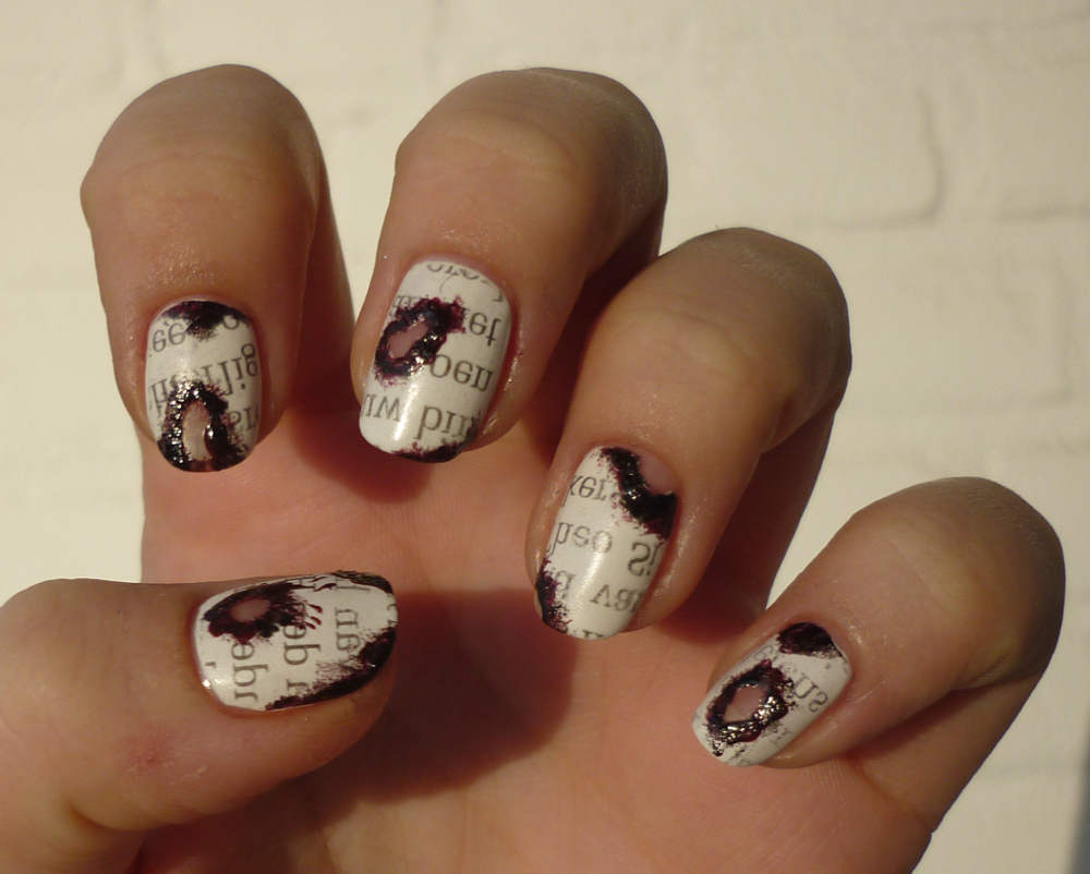 Burnt Newspaper Nail Art