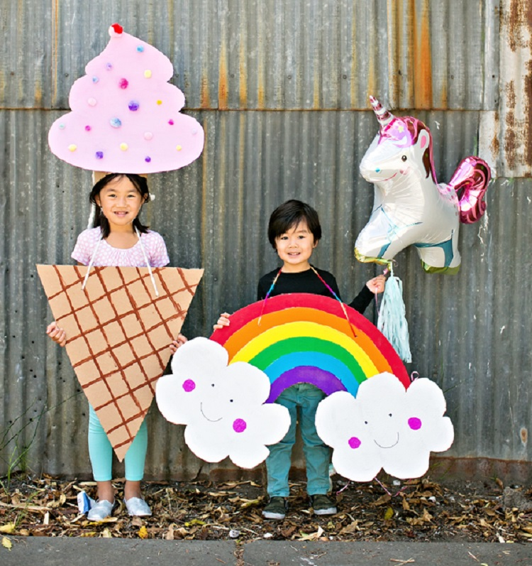 HAPPY CARDBOARD RAINBOW COSTUME