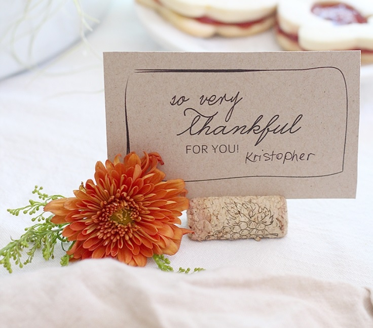 THANKSGIVING CORK PLACE CARD HOLDERS